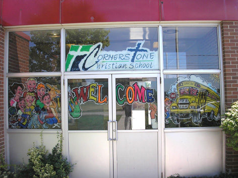 Window art work for Christian School.