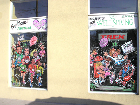 Window artwork for local fundraiser.