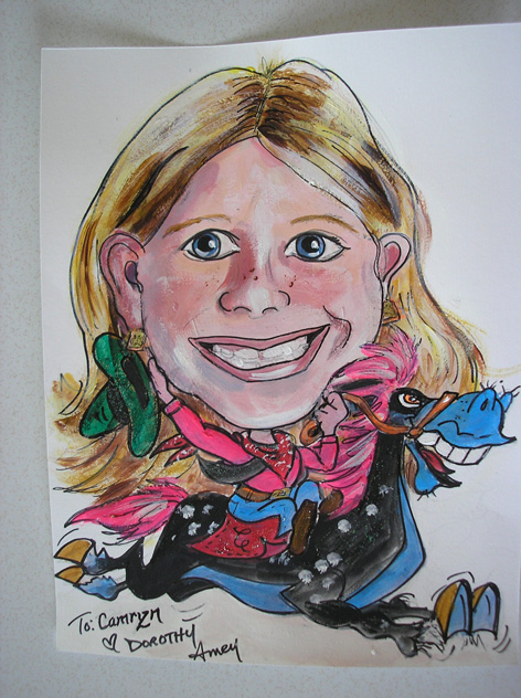 Caricature of another young girl.