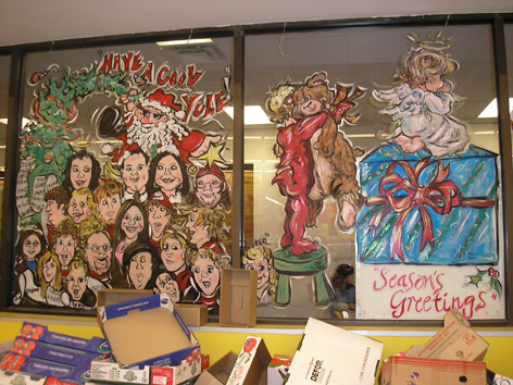 Christmas theme with caricatured employees for No Frills.