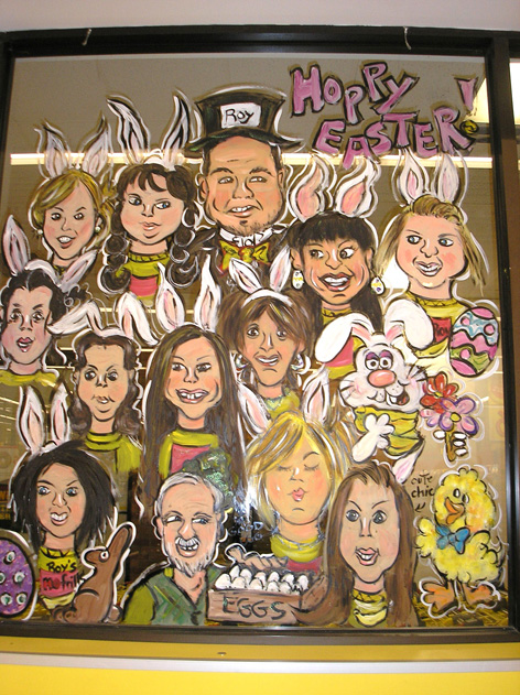 Caricatured employees of No Frills for Easter in Guelph, ON.