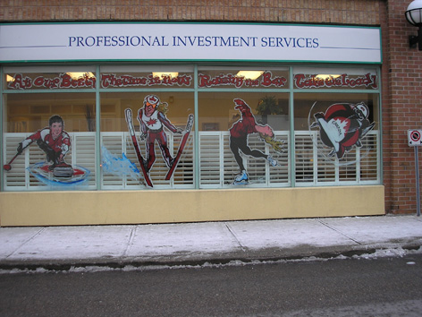 "Vancouver Olympic window art work for ""Paint the Town Red"" in Waterloo Ontario."