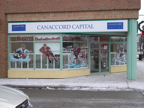 """Vancouver Olympic window art work for """"Paint the Town Red"""" in Waterloo Ontario."""