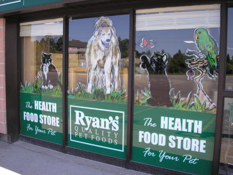 Promotional art for Ryan's Health and Food Pet Store.