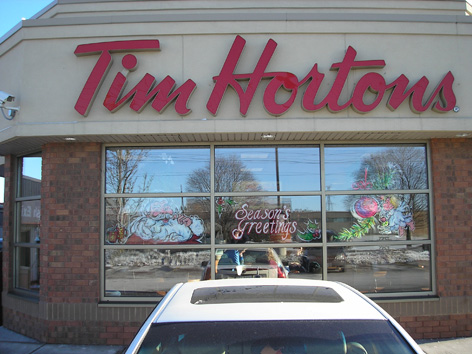 Christmas window art work for Tim Horton's in Guelph.