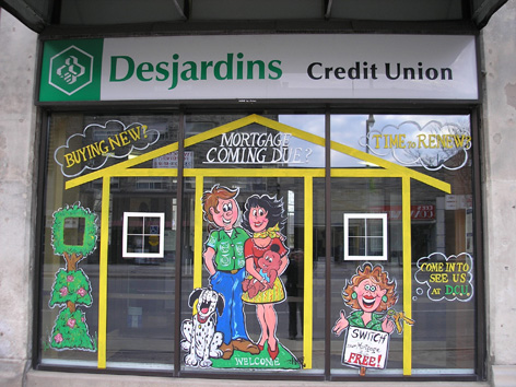 Promotional art for Credit Union, Desjardins.
