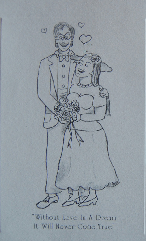 Caricature of newly weds for private wedding.