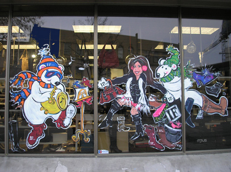 Christmas window art work for IF Shoes.