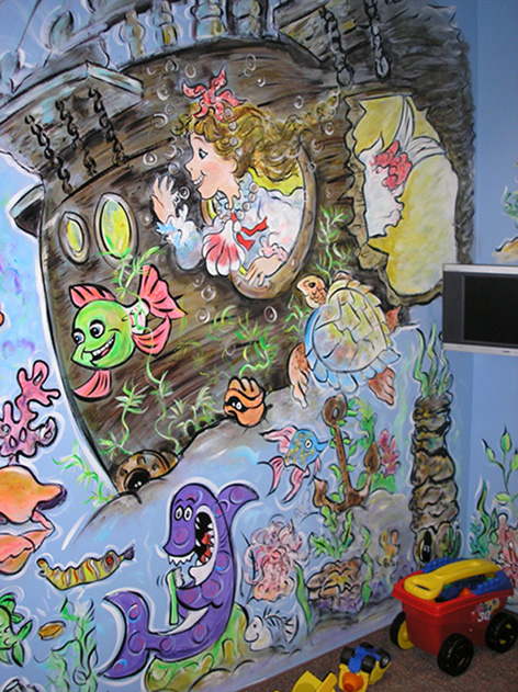 Mermaid and fish theme for opposing wall in dental office.