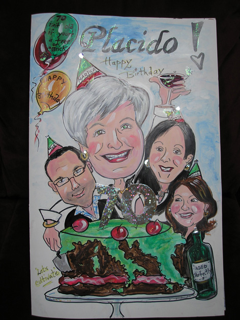 Personalized caricatures for oversized birthday card.