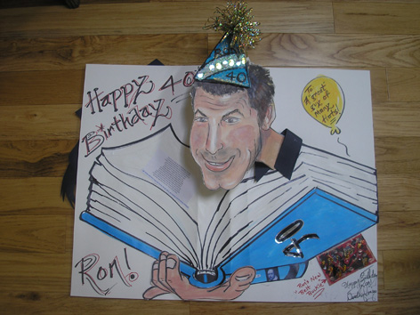 Caricatured pop-up birthday card.