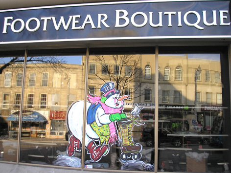 Seasonal window art work for IF Footwear.