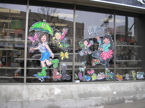 Spring promotional window art for IF Shoes.