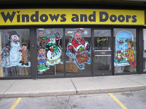 Christmas window art work for Windows and Doors shop.