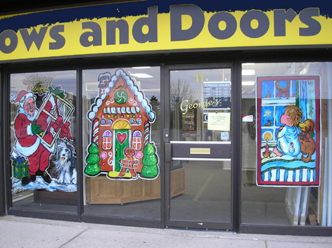 Christmas window art work for Windows and Doors store.