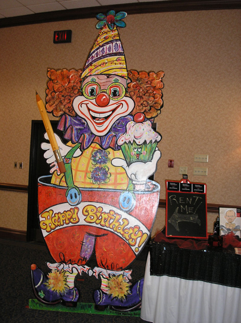 Giant stand up party clown available for rental.  Only $50 per day!