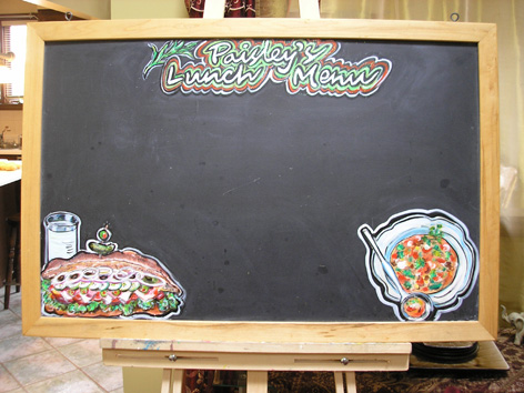 Artwork on chalkboards for Paisley Fine Foods.