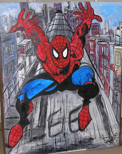 Spiderman artwork for child's 5th birthday.