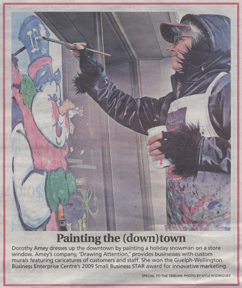 Article in Guelph Tribune featuring Dorothy Amey's window art work.