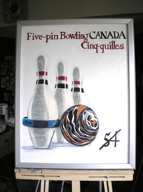 5 pin bowling Canada tribute painting.