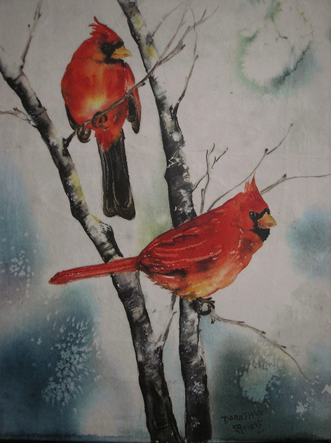 Cardinals in winter.