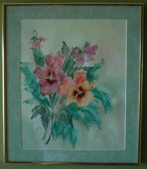 Water colour of a bouquet of flowers.