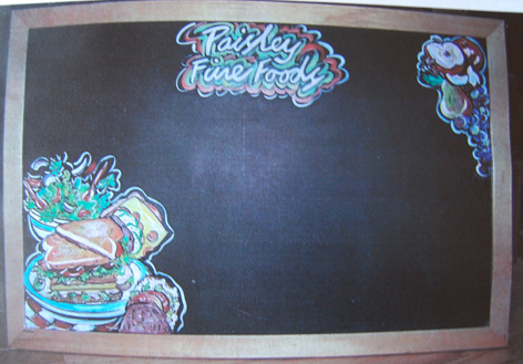 Chalk board artwork for Paisley Fine Foods.