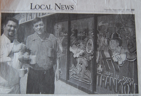 Dorothy window painting featured in local newspaper.