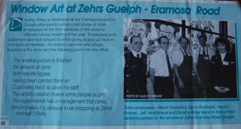 Dorothy's art work featured in Zehrs' business magazine.