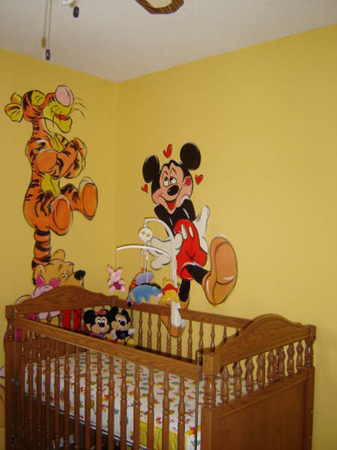 Cartoon theme for baby's room in private residence.