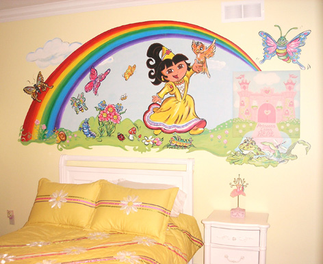 Children's room with Dora mural for private residence