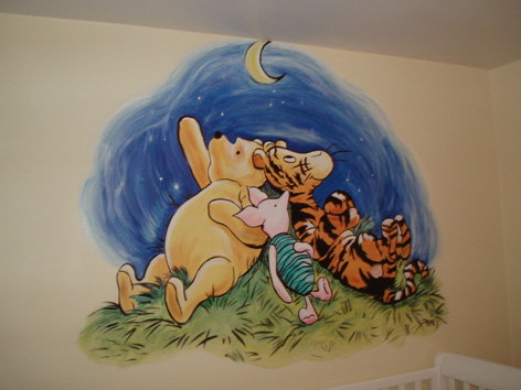 Classic Pooh mural for baby's room in private residence.