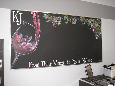 Chalkboard border artwork for wine shop.