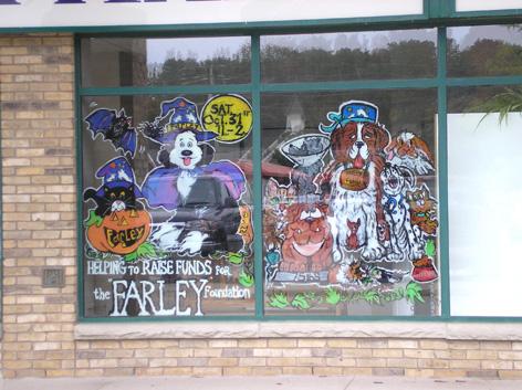 Window art work for animal shelter.