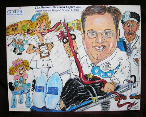 Caricature of David Caplan (Minister of Health) promoting new mental ward at Guelph General Hospital.