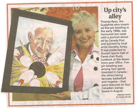 Article in the Guelph Tribune featuring Thomas Ryan caricature.