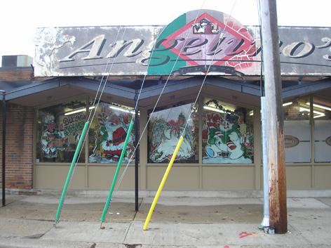 Christmas window art work for Angelino's.