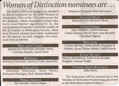 Nomination for Women of Distinction article in newspaper.