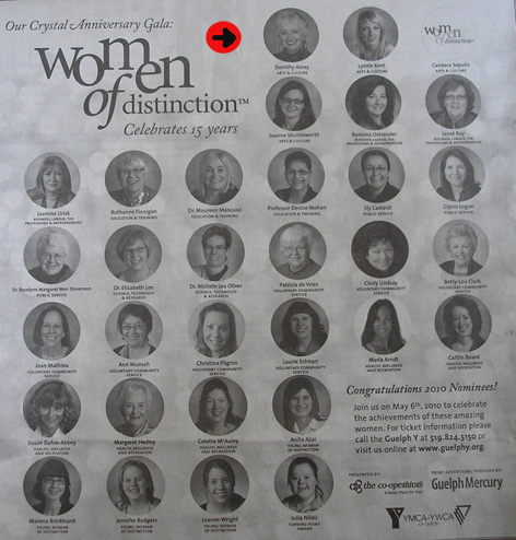 Article in Guelph Mercury highlighting nominated Women of Distinction for 2010!