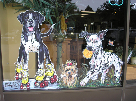 Promotional window art work for local pet store.