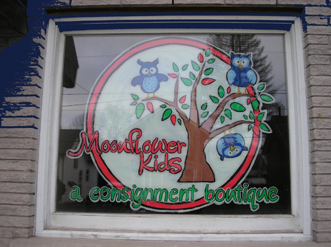 Promotional window art work for Consignment Boutique.