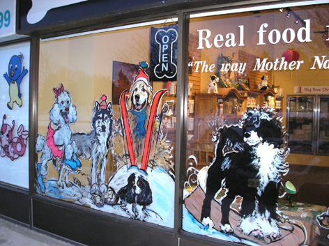 Promotional window art work for Pet Boutique.