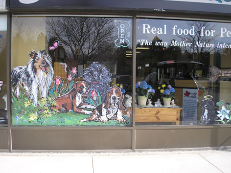 Window artwork for pet store.
