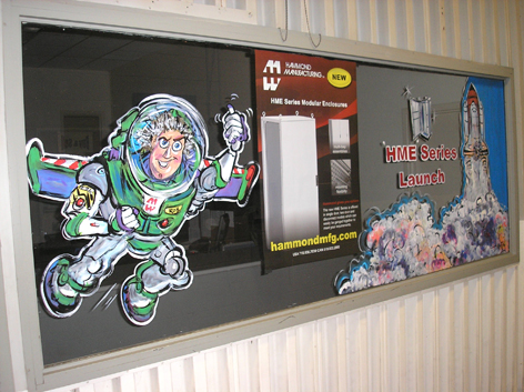 Promotional window art work for Industrial Company lunch room.