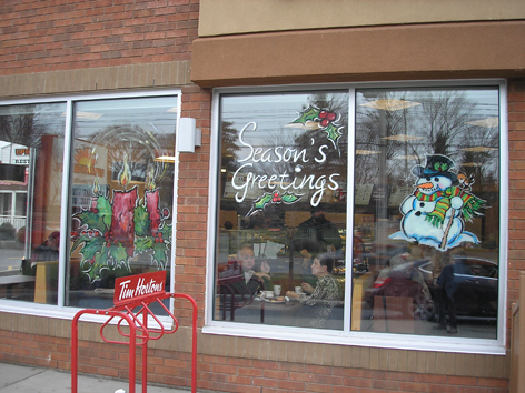 Christmas window art work for Tim Horton's.