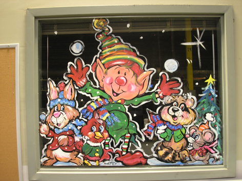 Seasonal window art work Hammond manufacturing.