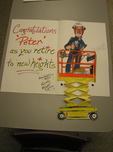 Retirement card for co-worker at Hammond Manufacturing.