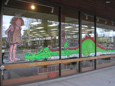 Promotional window art work for Guelph Public Library.