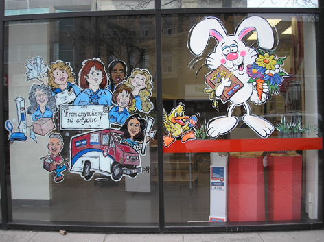 Seasonal window art work for Postal Office.