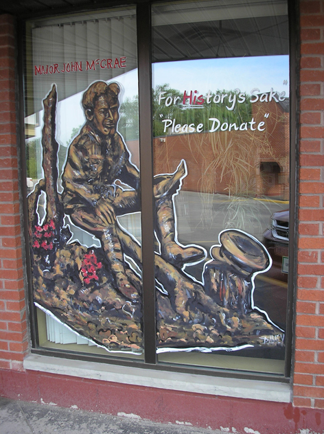 Colonel John McCrae window artwork at various locations across his hometown of Guelph Ontario, such as The Royal Canadian Legion and The Guelph Public Library.